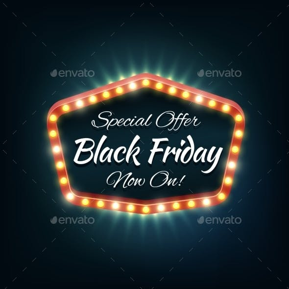 Black Friday Light Frame, Vector Retro Billboard