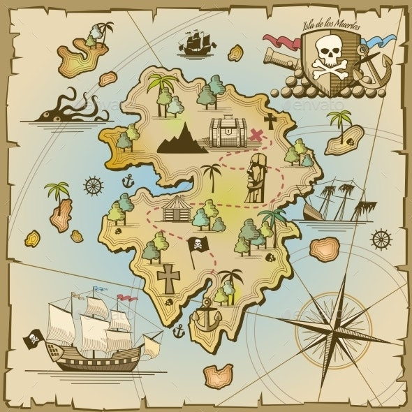 Pirate Treasure Island Vector Map - Miscellaneous Vectors