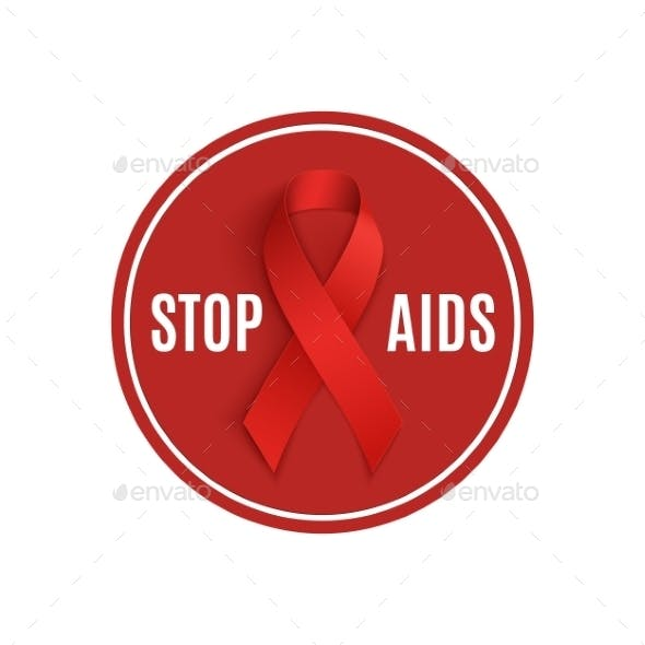 Stop AIDS Sign With Red Ribbon.