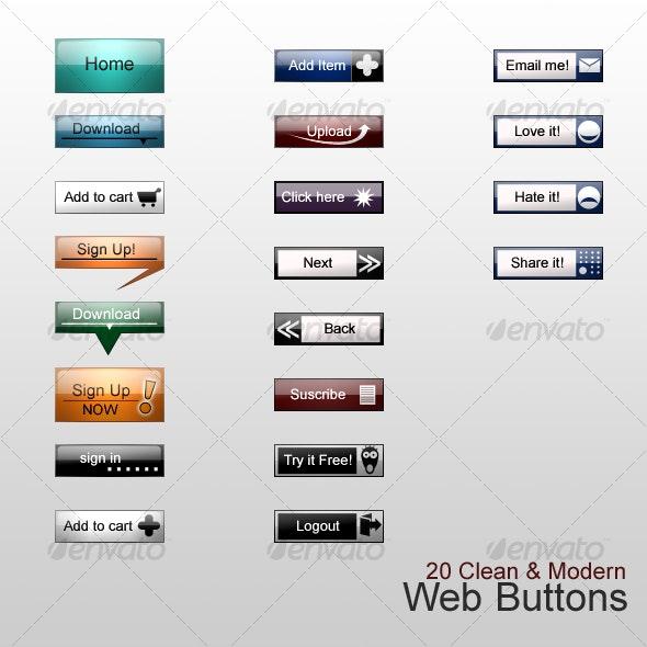 20 Clean & Modern Web Buttons - Buttons Web Elements