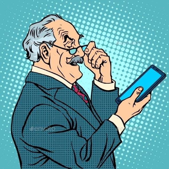 Old Man Gadgets Elderly Businessman New Tablet