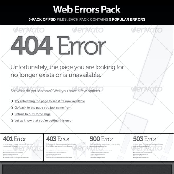 Web Errors Pack - 404, 401, 403, 500, 503