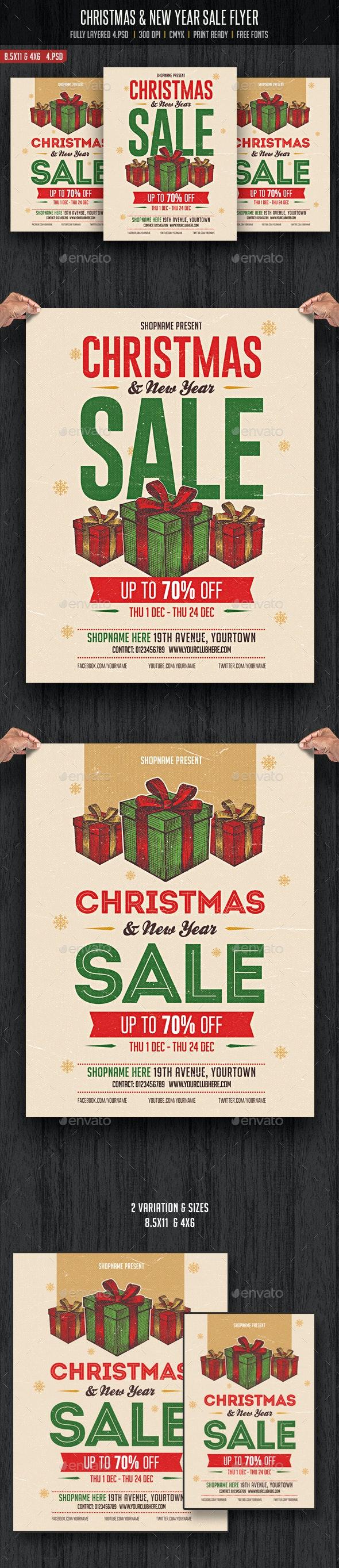 Christmas & New Year Sale Flyer - Flyers Print Templates