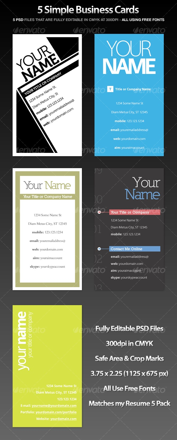 Simple Business Cards (5 Pack) - Creative Business Cards