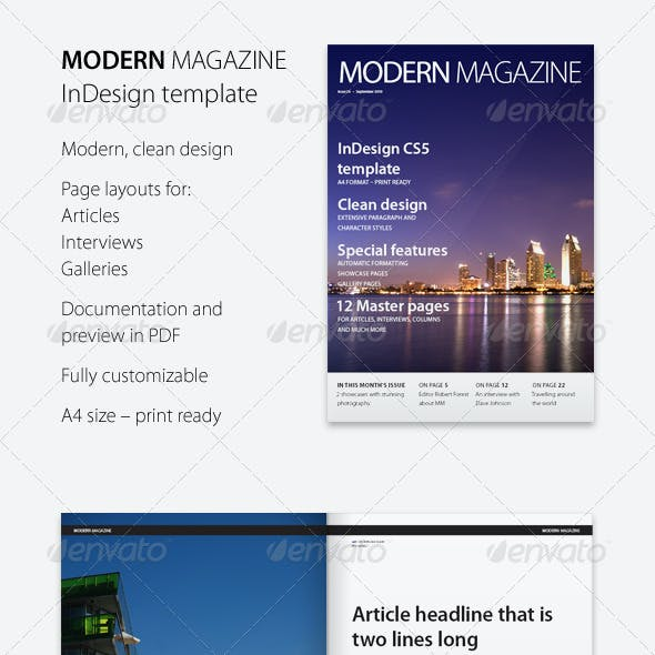 Modern Magazine InDesign template