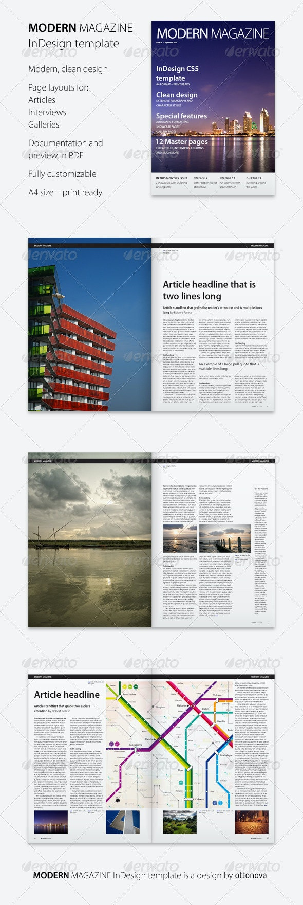 Modern Magazine InDesign template - Magazines Print Templates