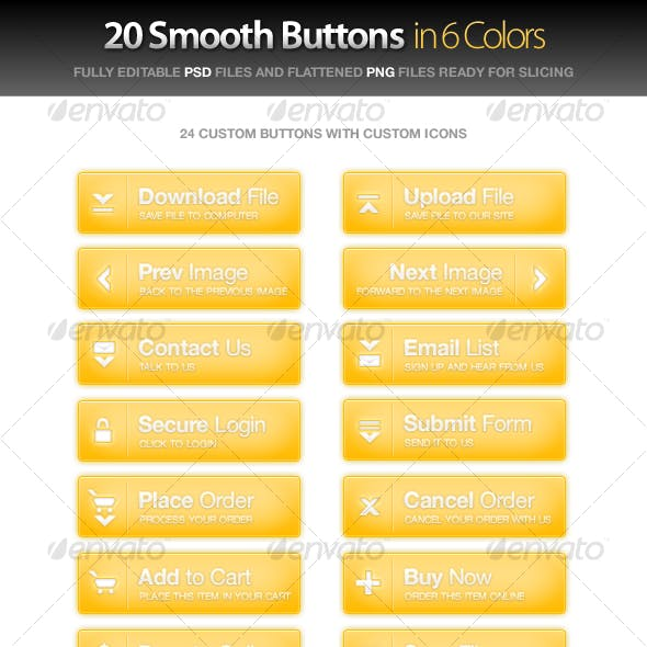 20 Custom Smooth Buttons w/Icons in 6 Colors