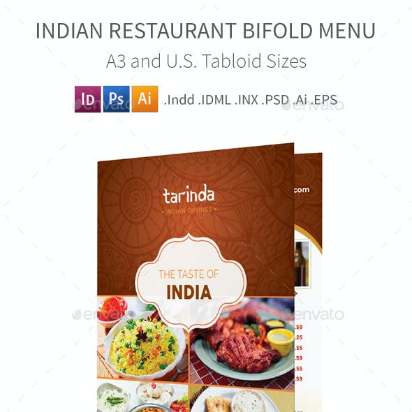 Indian Restaurant Bifold / Halffold Menu