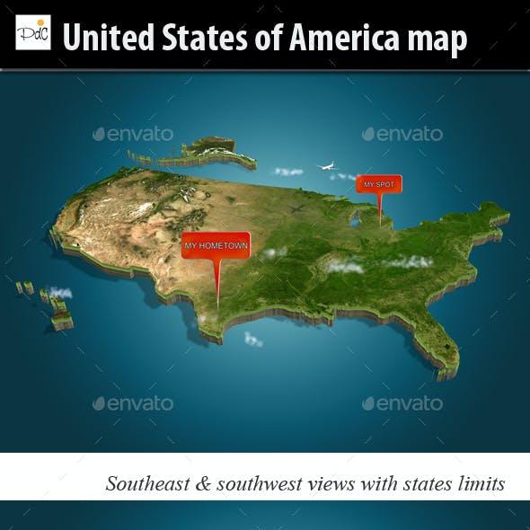 USA Illustrated Map