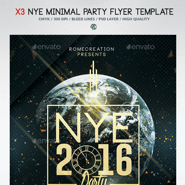 X3 NYE Minimal Party | Psd Poster Template