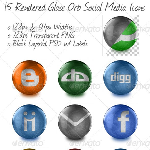 15 Rendered Glass Orb Social Media Icons