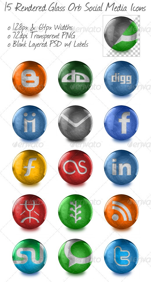 15 Rendered Glass Orb Social Media Icons - Web Icons