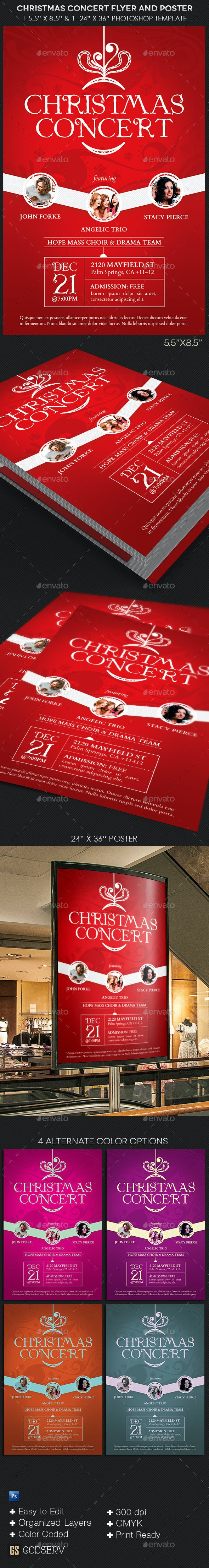 Christmas Concert Flyer Poster Template - Church Flyers