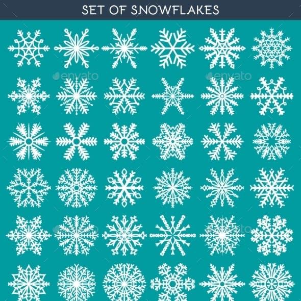 Set 36 White Different Snowflakes