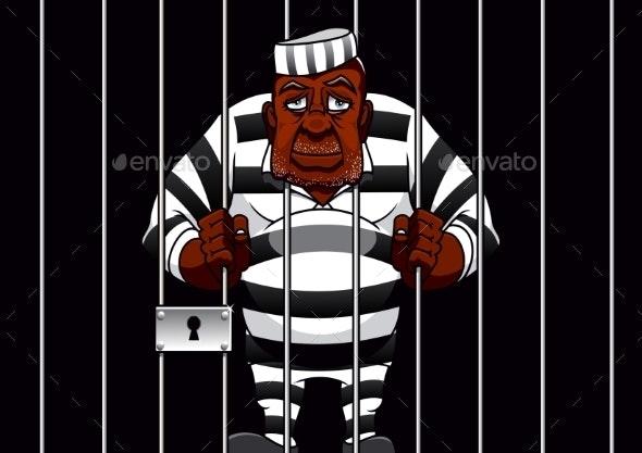 Cartoon Prisoner Behind Bars in the Prison - People Characters