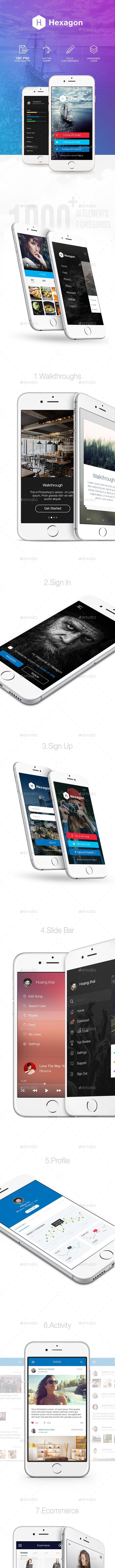 Hexagon Mobile UI Kit - User Interfaces Web Elements