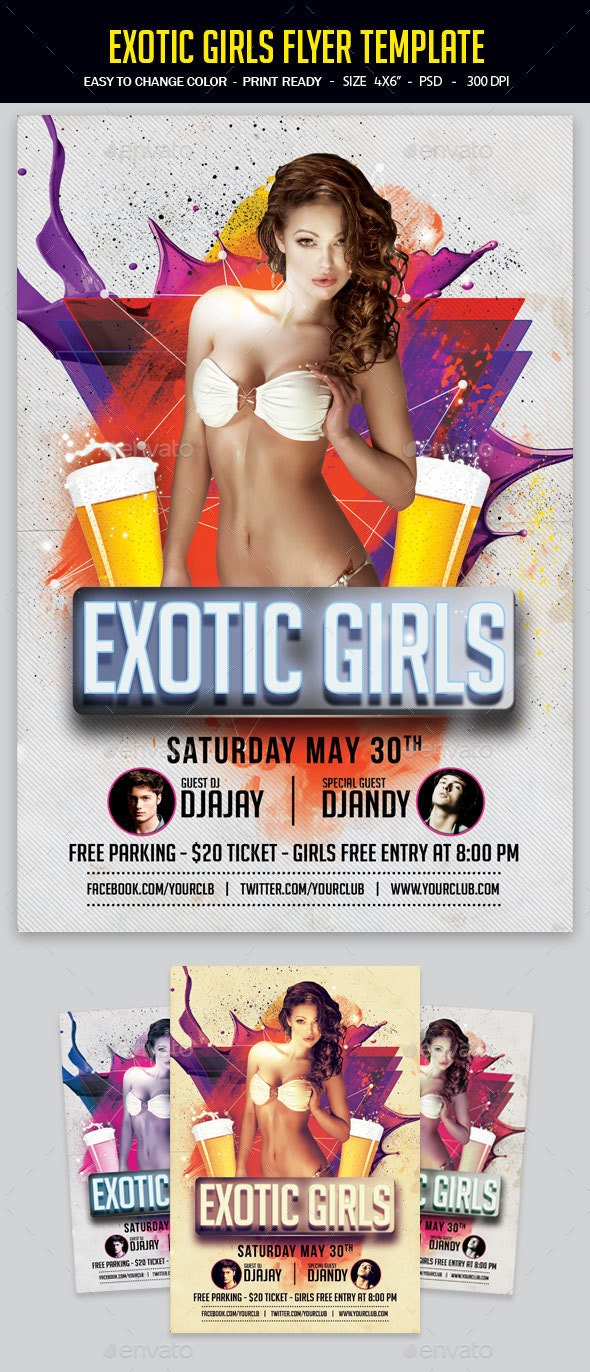 Exotic Girls Flyer Template - Clubs & Parties Events