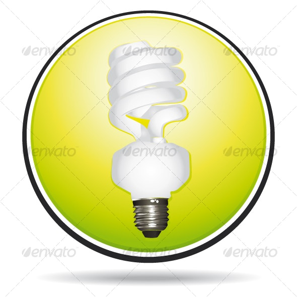 Green saving energy lightbulb icon - Technology Icons