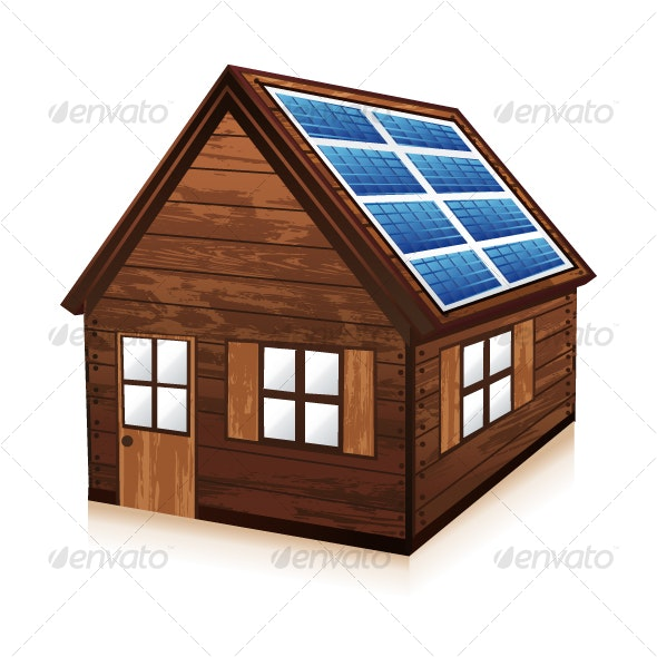 Wooden house with solar panels - Buildings Objects