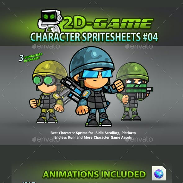 Soldiers 2D Game Character SpriteSheets 04