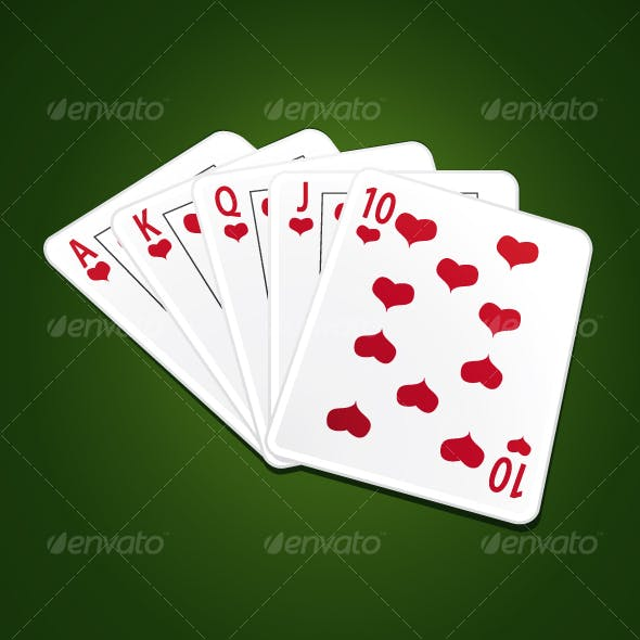 Royal flush poker cards