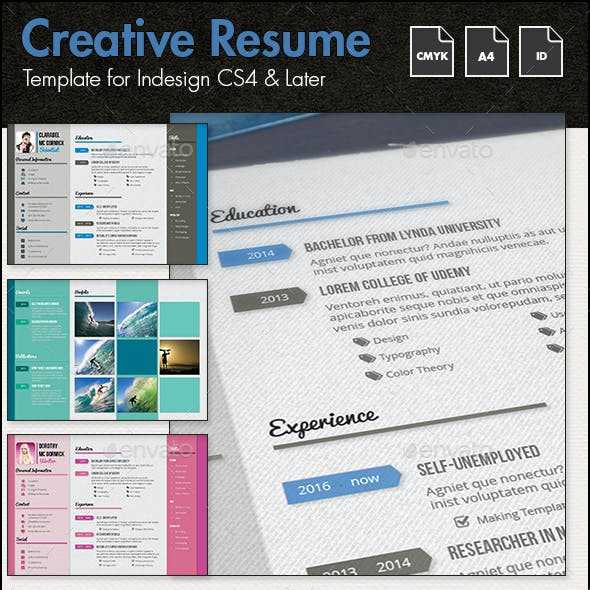 Creative Resume and CV Template g1 - A4 Landscape