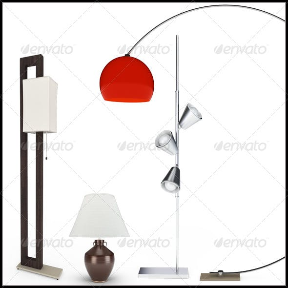 Set of Lamps. 3D Illustration