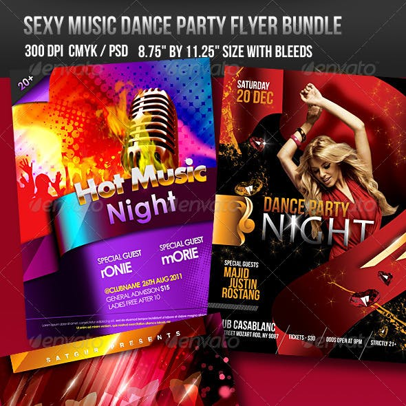 Sexy Music Dance Party Flyer Bundle