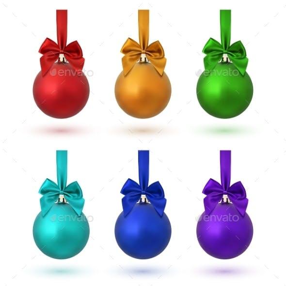 Set Of Six Colorful Christmas Balls.