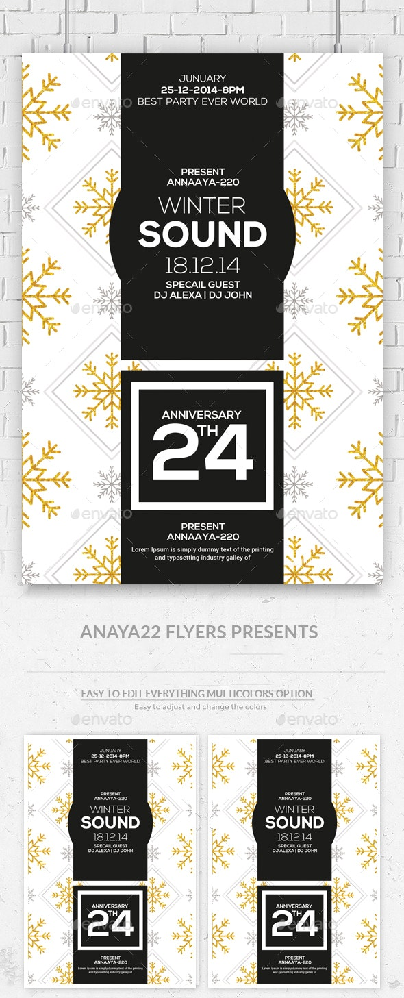 Winter Sound Party Flyer Template - Clubs & Parties Events