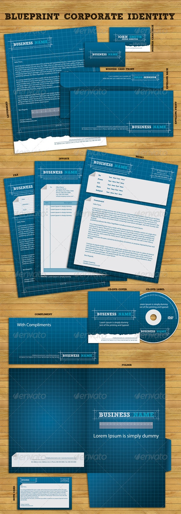 Blueprint Corporate Identity Package - Stationery Print Templates