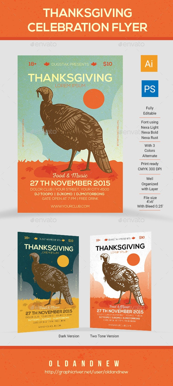 Thanksgiving Event Celebration Flyer - Holidays Events