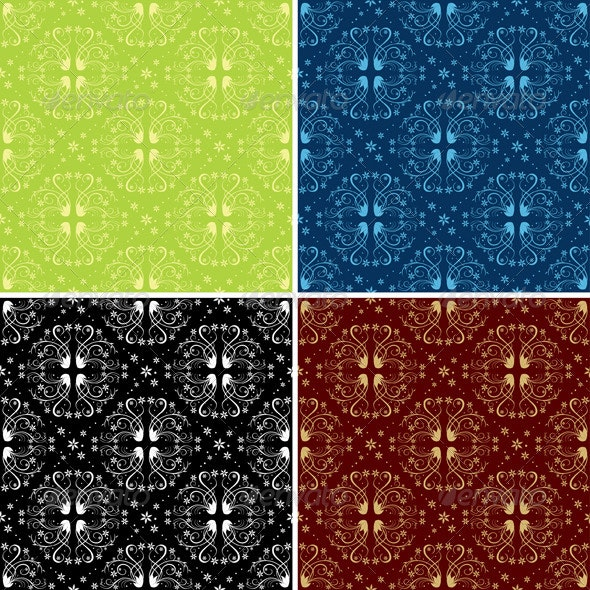 Set of Color Floral  Seamless Patterns - Patterns Decorative