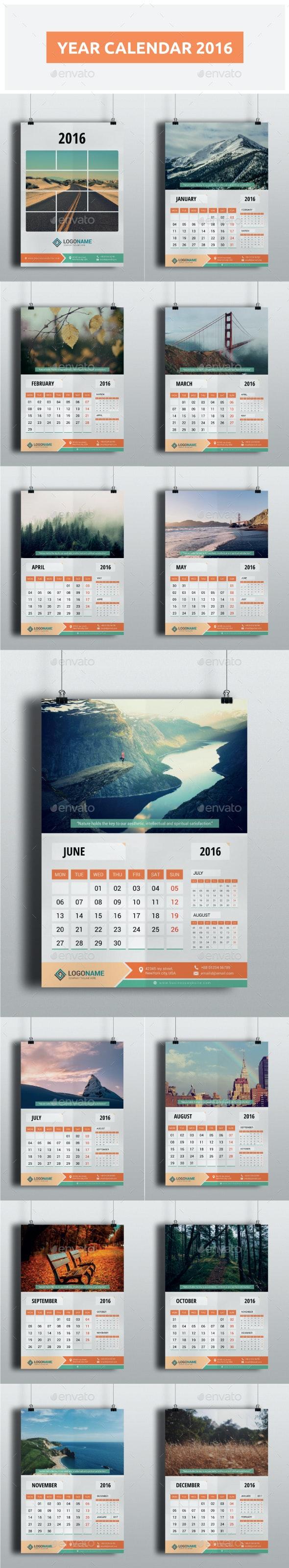 Year Calendar 2016 - Calendars Stationery