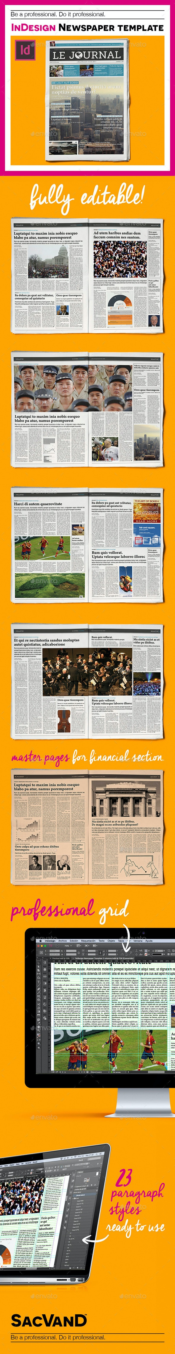 InDesign Newspaper Template 5 Columns - Newsletters Print Templates