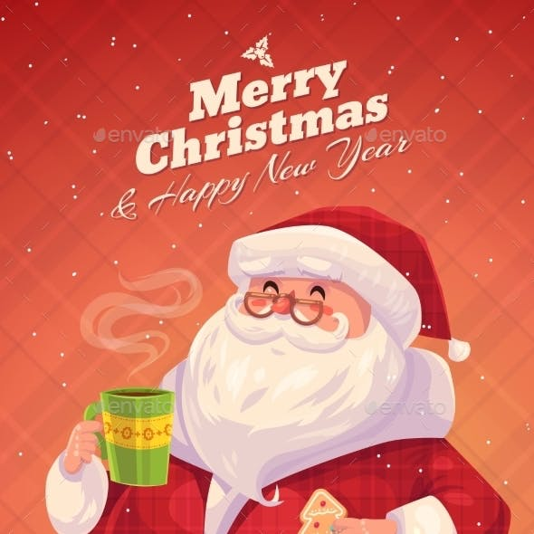 Santa Christmas Greeting Card Background