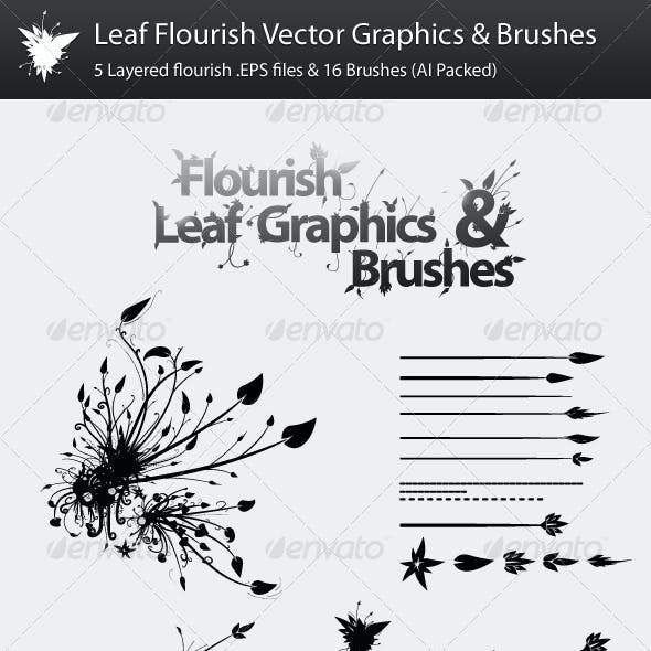 Leaf Flourish Vector Graphics & Brushes