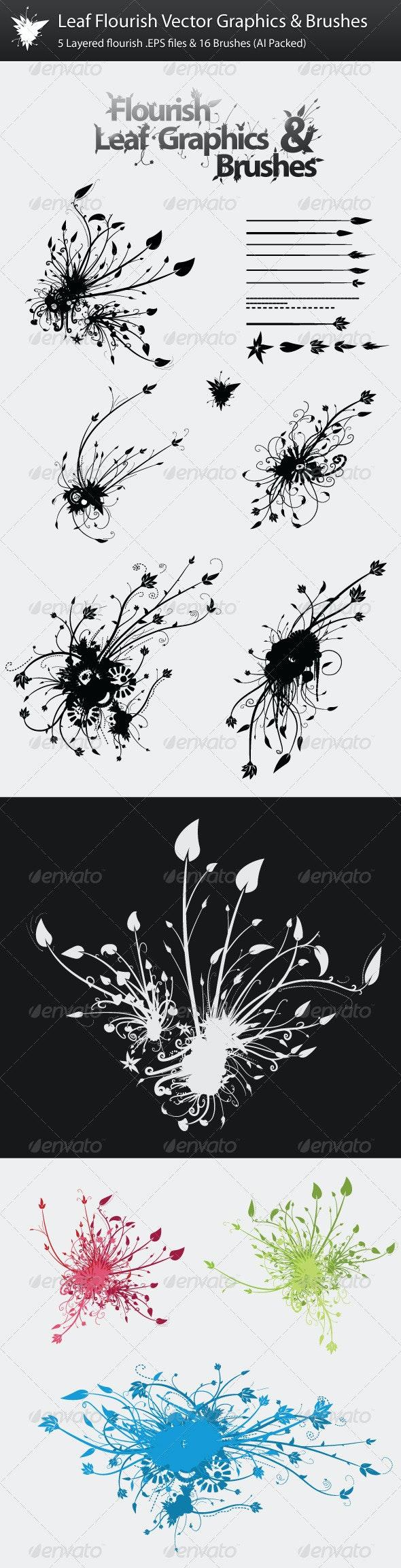 Leaf Flourish Vector Graphics & Brushes - Flourishes / Swirls Decorative