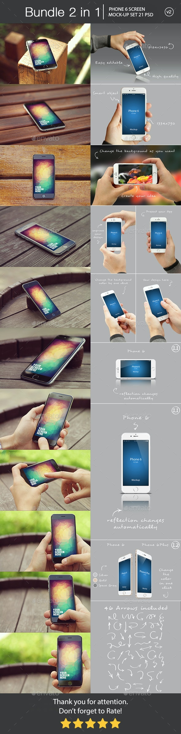 iPhone 6 Mockup Bundle 2 in 1 v2 - Mobile Displays
