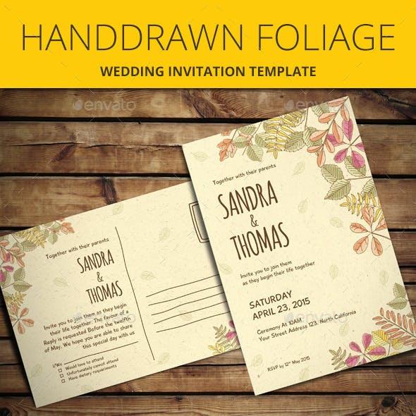Handdrawn Foliage Wedding Invitation
