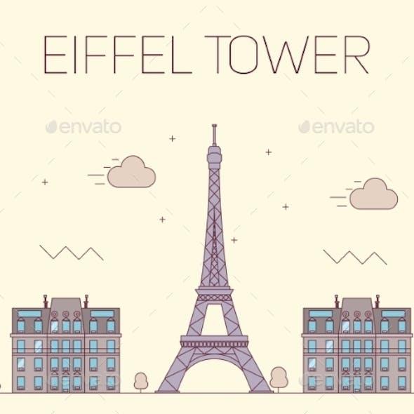 Eiffel Tower In Paris. Vector Illustration