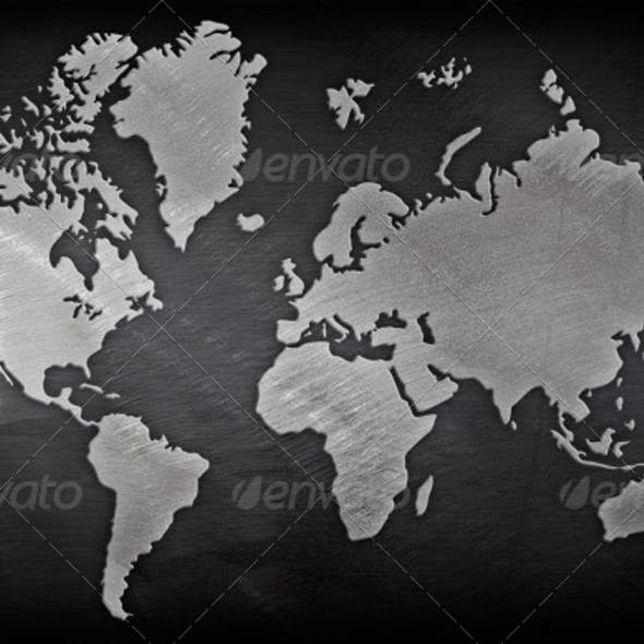 Brushed Metal World Map