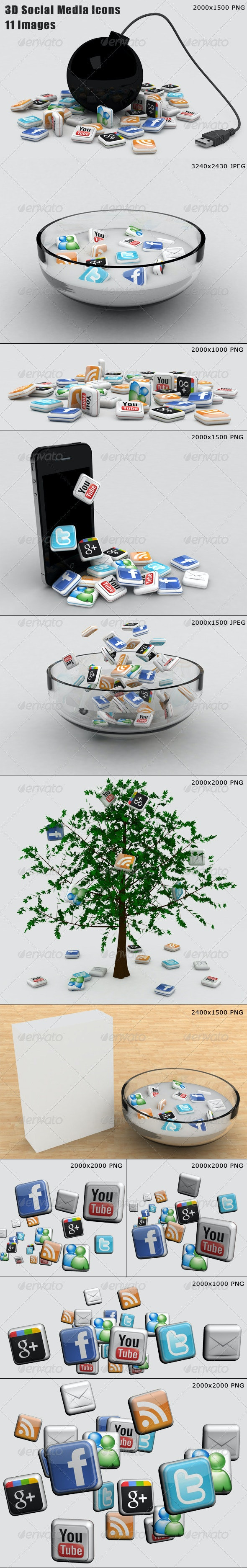 11 Social Media Illustrations - Technology 3D Renders