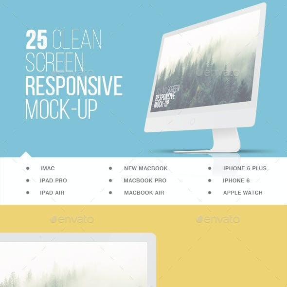 25 Clean Screen Responsive Mockups