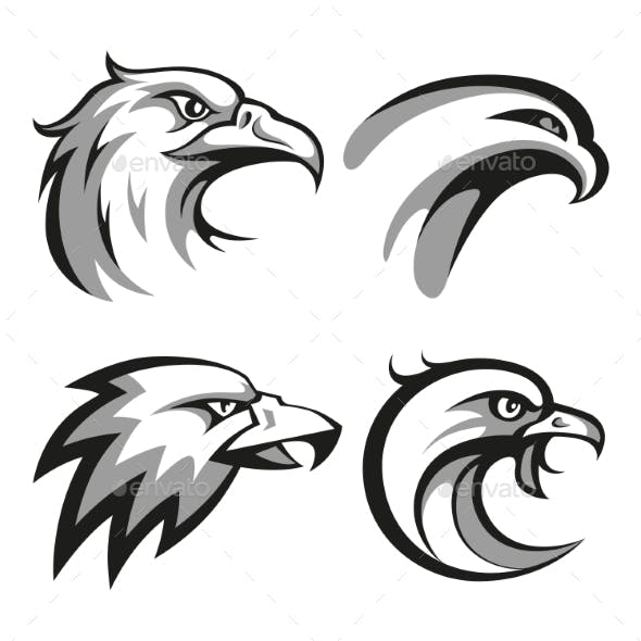 Black And Grey Eagle Head Logos Set For Business