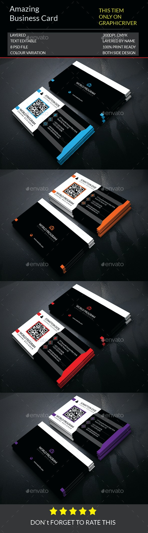 Amazing Business Card Template.163 - Business Cards Print Templates