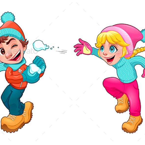 Children are Playing with Snow