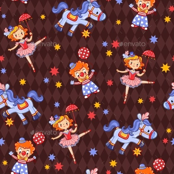 Seamless Kids Circus Background Pattern In Vector.