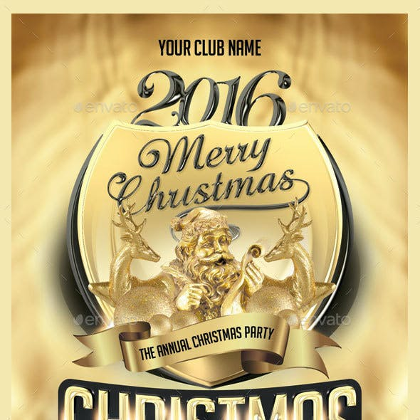 Christmas Gold & Black Party Flyer