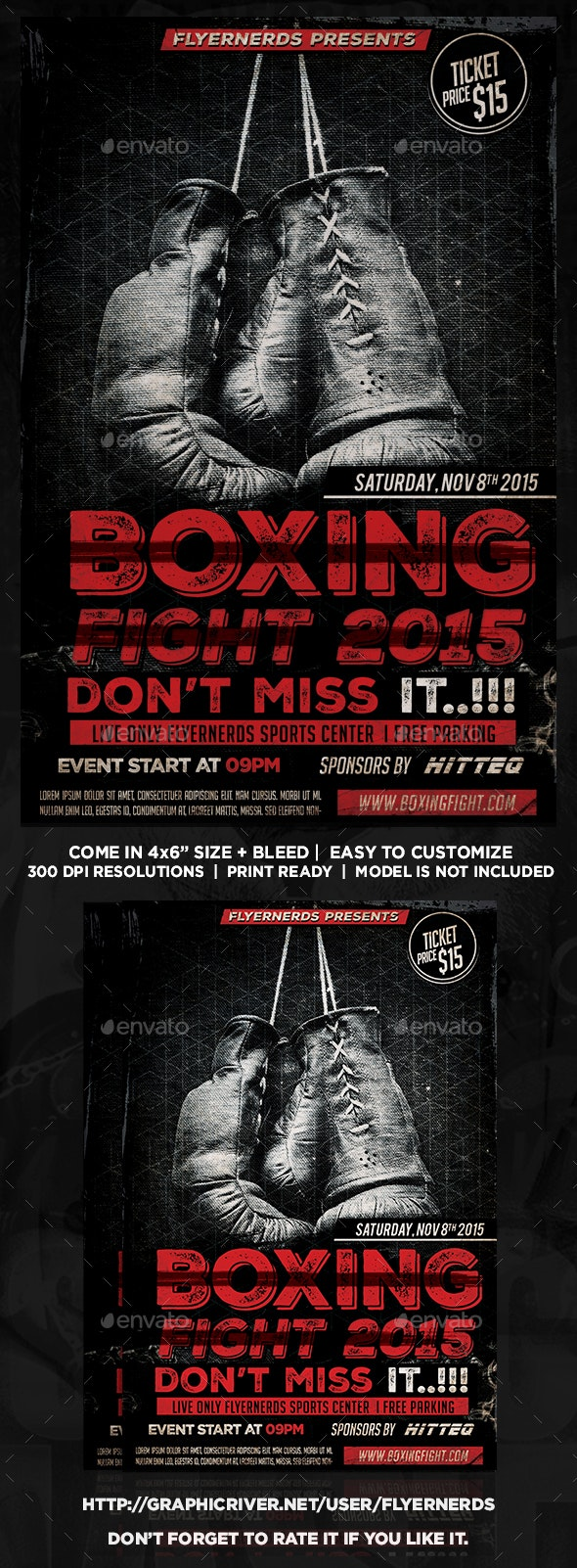 Boxing Fight 2015 Sports Flyer - Sports Events